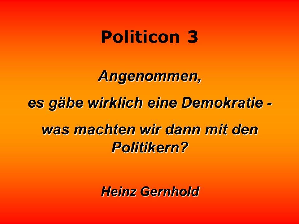 Politicon 3 Wenn ein Politiker eine Idee in die Tat umsetzen will, dann hat er sie falsch verstanden.