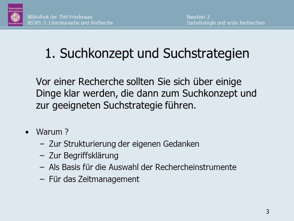 Bibliothek der ThH Friedensau BS5P1-3: Literatursuche und Recherche Baustein 2 Suchstrategie und erste Recherchen 3 1. Suchkonzept und Suchstrategien