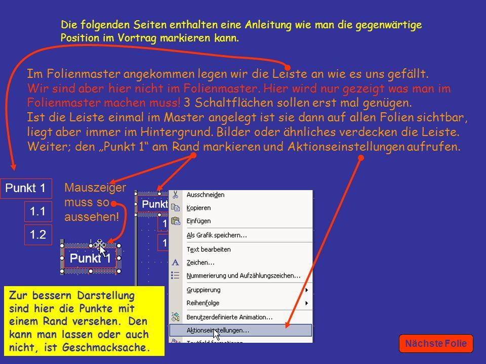 3 Punkt 1 1.1 1.2 Die folgenden Seiten enthalten eine Anleitung wie man die gegenwärtige Position im Vortrag markieren kann.