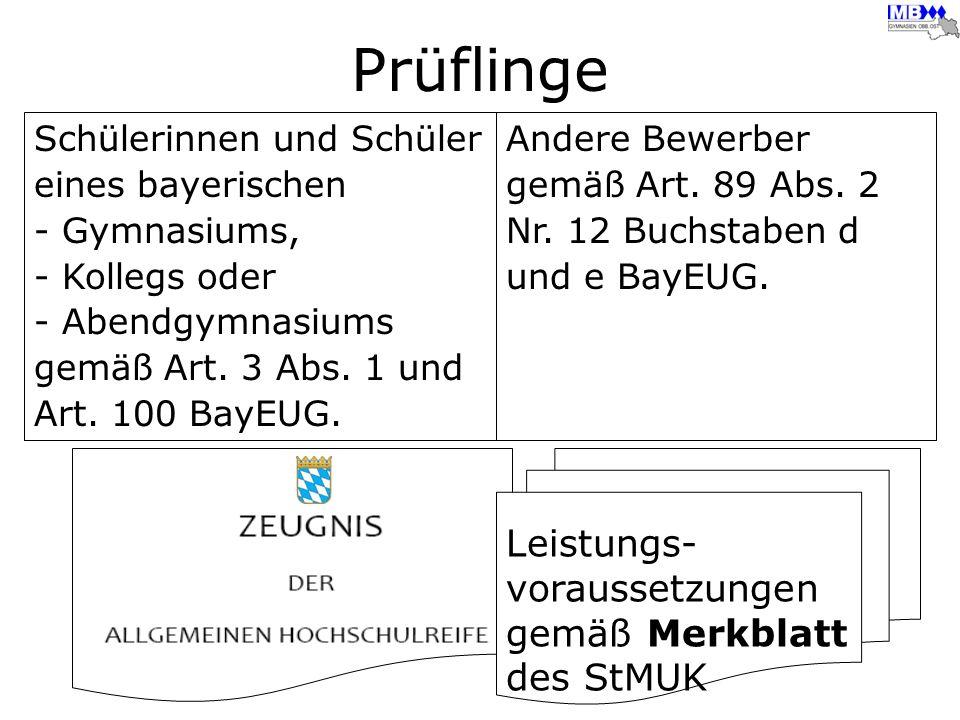 Prüflinge Schülerinnen und Schüler eines bayerischen - Gymnasiums, - Kollegs oder - Abendgymnasiums gemäß Art. 3 Abs. 1 und Art. 100 BayEUG. Andere Be