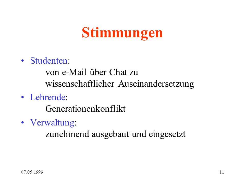 07.05.199911 Stimmungen Studenten: von e-Mail über Chat zu wissenschaftlicher Auseinandersetzung Lehrende: Generationenkonflikt Verwaltung: zunehmend