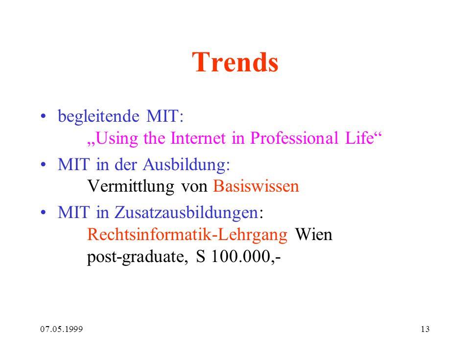 07.05.199913 Trends begleitende MIT: Using the Internet in Professional Life MIT in der Ausbildung: Vermittlung von Basiswissen MIT in Zusatzausbildun
