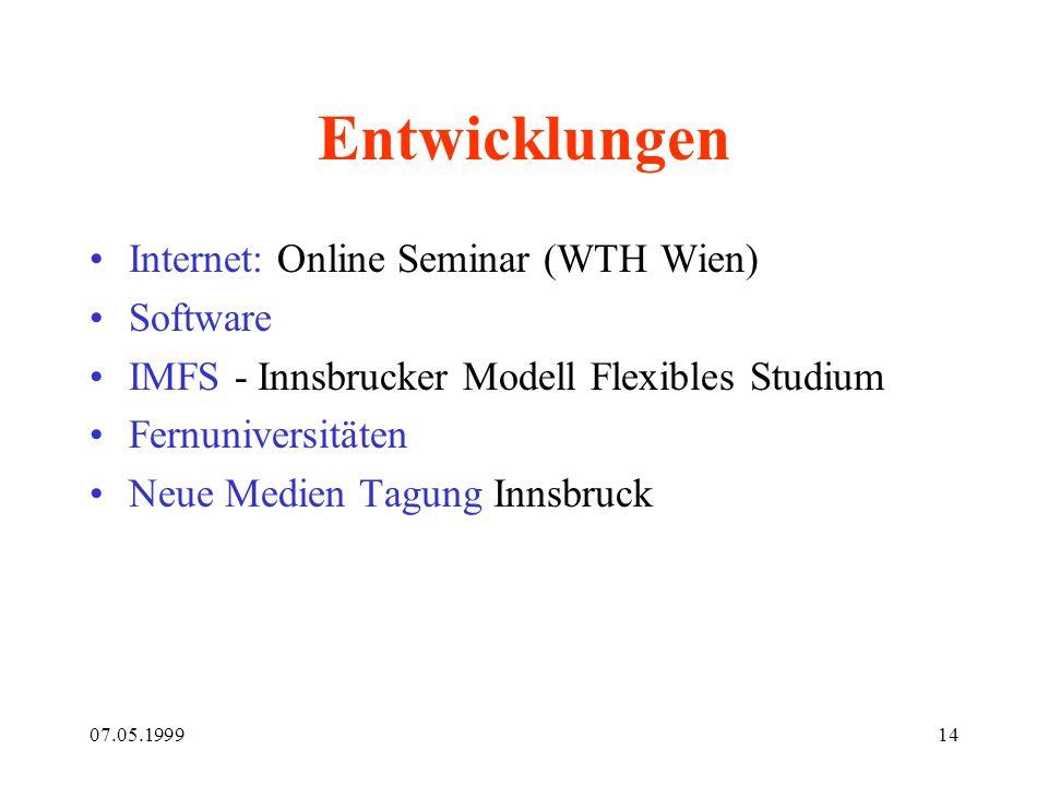 07.05.199914 Entwicklungen Internet: Online Seminar (WTH Wien) Software IMFS - Innsbrucker Modell Flexibles Studium Fernuniversitäten Neue Medien Tagu
