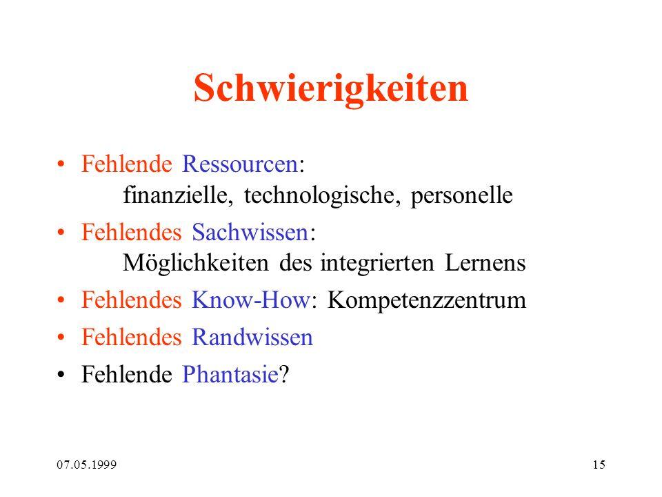 07.05.199915 Schwierigkeiten Fehlende Ressourcen: finanzielle, technologische, personelle Fehlendes Sachwissen: Möglichkeiten des integrierten Lernens