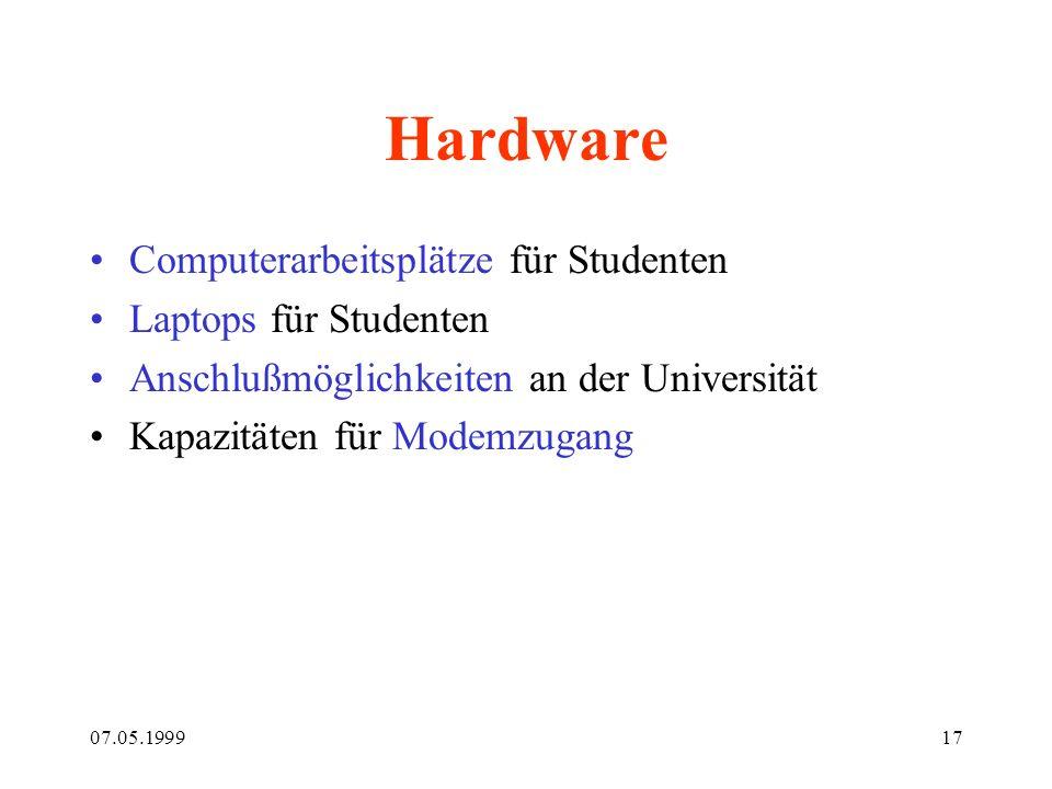 07.05.199917 Hardware Computerarbeitsplätze für Studenten Laptops für Studenten Anschlußmöglichkeiten an der Universität Kapazitäten für Modemzugang