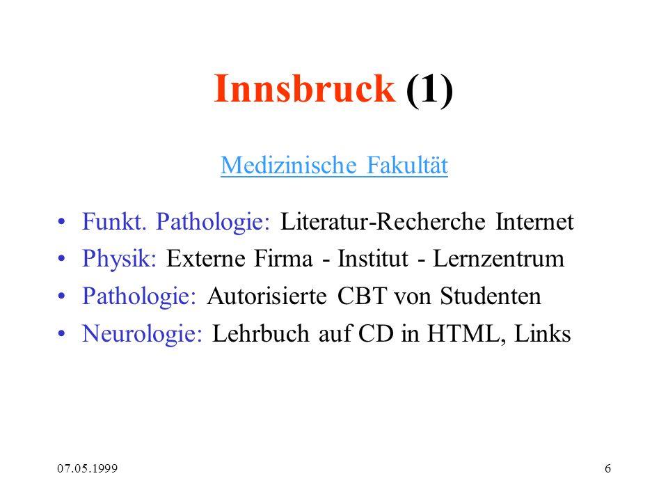 07.05.19996 Innsbruck (1) Medizinische Fakultät Funkt. Pathologie: Literatur-Recherche Internet Physik: Externe Firma - Institut - Lernzentrum Patholo