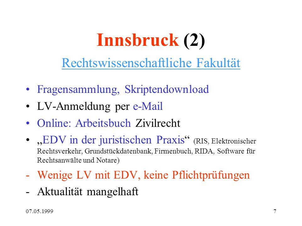 07.05.19997 Innsbruck (2) Rechtswissenschaftliche Fakultät Fragensammlung, Skriptendownload LV-Anmeldung per e-Mail Online: Arbeitsbuch Zivilrecht EDV