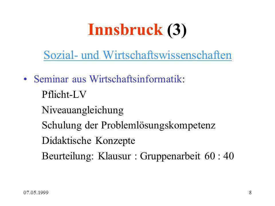 07.05.19998 Innsbruck (3) Sozial- und Wirtschaftswissenschaften Seminar aus Wirtschaftsinformatik: Pflicht-LV Niveauangleichung Schulung der Problemlö