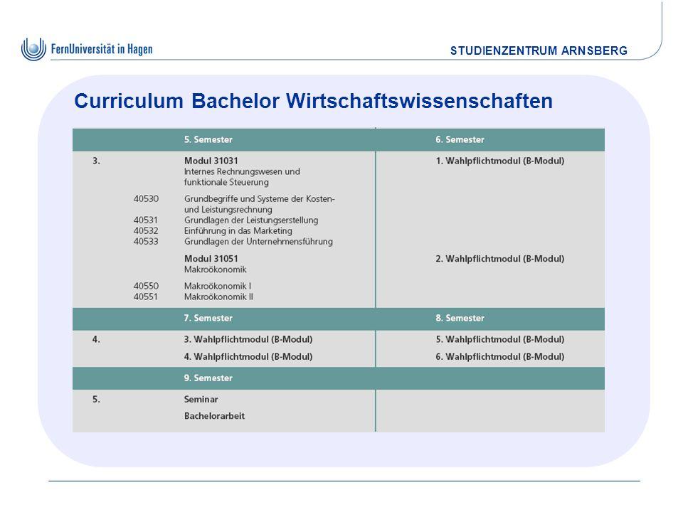 STUDIENZENTRUM ARNSBERG Curriculum Bachelor Wirtschaftswissenschaften