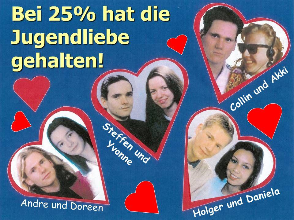 Bei 25% hat die Jugendliebe gehalten! Andre und Doreen Holger und Daniela Steffen und Yvonne Collin und Akki