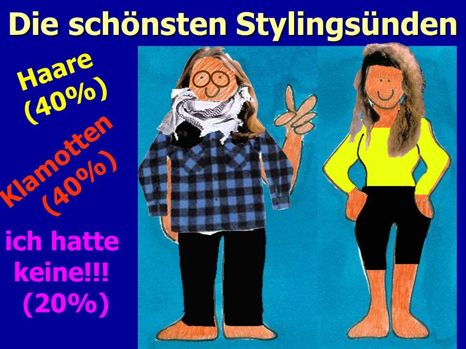 Die schönsten Stylingsünden Haare (40%) Klamotten (40%) ich hatte keine!!! (20%)