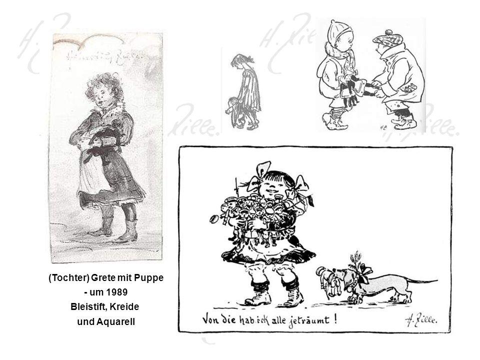 (Tochter) Grete mit Puppe - um 1989 Bleistift, Kreide und Aquarell