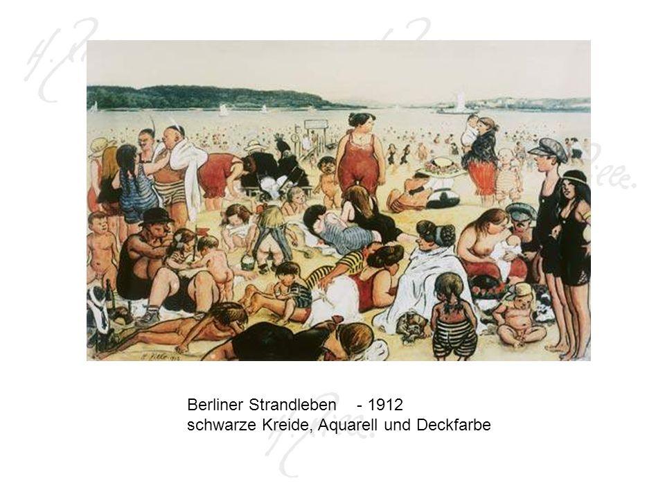 Berliner Strandleben - 1912 schwarze Kreide, Aquarell und Deckfarbe