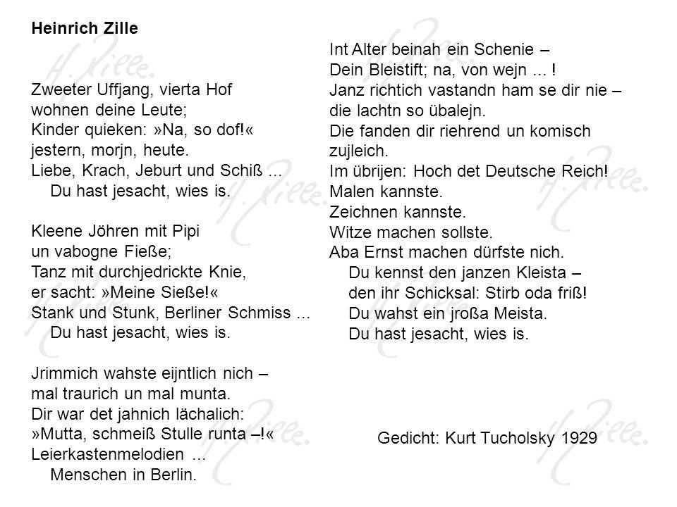 Heinrich Zille Zweeter Uffjang, vierta Hof wohnen deine Leute; Kinder quieken: »Na, so dof!« jestern, morjn, heute.