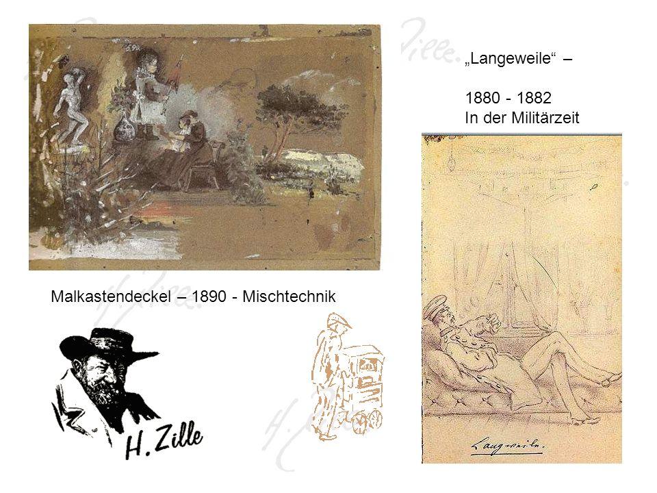 Malkastendeckel – 1890 - Mischtechnik Langeweile – 1880 - 1882 In der Militärzeit