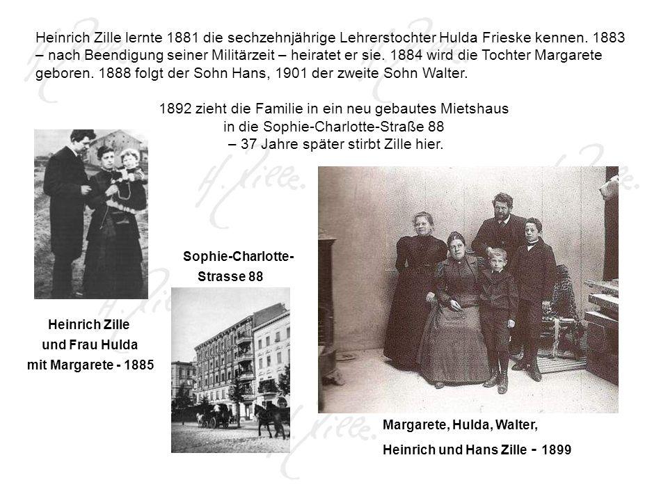 Heinrich Zille lernte 1881 die sechzehnjährige Lehrerstochter Hulda Frieske kennen.