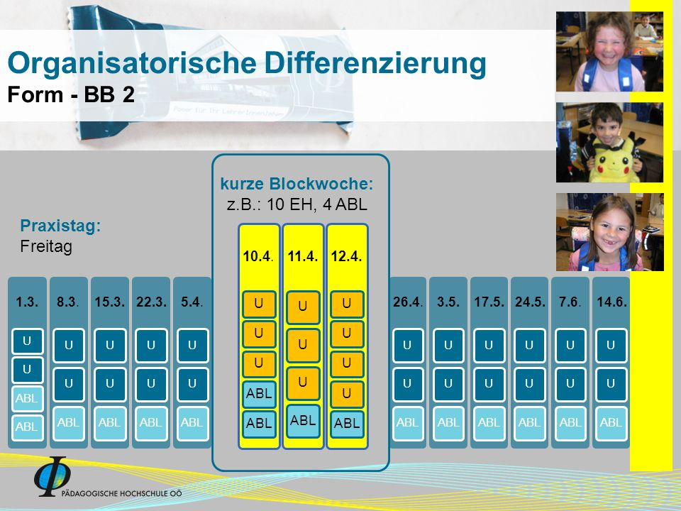 1.3. UUABL 8.3. UUABL 15.3. UUABL 22.3. UUABL 5.4. UUABL 26.4. UUABL 3.5. UUABL 17.5. UUABL 24.5. UUABL 7.6. UUABL 14.6. UUABL kurze Blockwoche: z.B.: