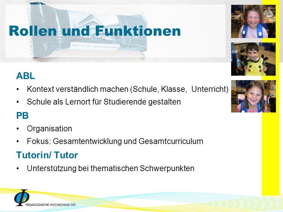 ABL Kontext verständlich machen (Schule, Klasse, Unterricht) Schule als Lernort für Studierende gestalten PB Organisation Fokus: Gesamtentwicklung und