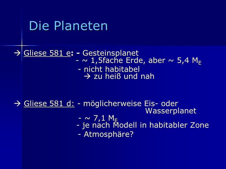 Die Planeten Gliese 581 e: - Gesteinsplanet - ~ 1,5fache Erde, aber ~ 5,4 M E - nicht habitabel zu heiß und nah Gliese 581 d: - möglicherweise Eis- od