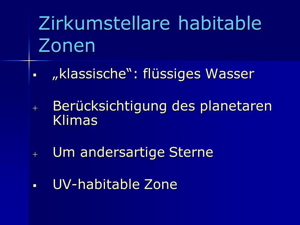 Zirkumstellare habitable Zonen klassische: flüssiges Wasser klassische: flüssiges Wasser Berücksichtigung des planetaren Klimas Berücksichtigung des p