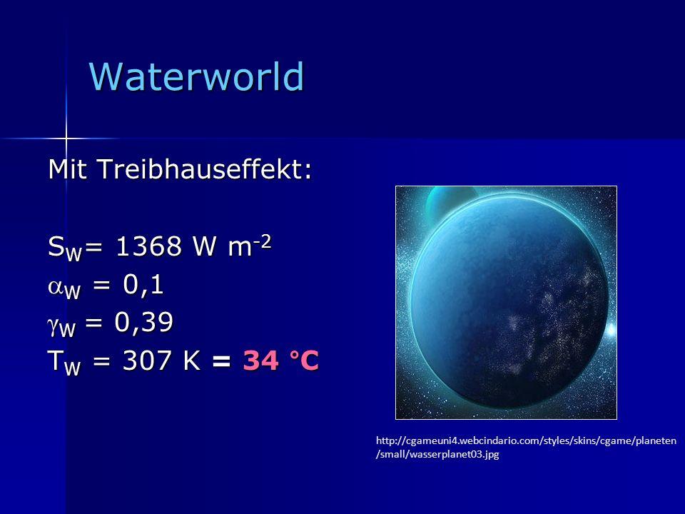 Waterworld Mit Treibhauseffekt: S W = 1368 W m -2 W = 0,1 W = 0,1 γ W = 0,39 T W = 307 K = 34 °C http://cgameuni4.webcindario.com/styles/skins/cgame/p