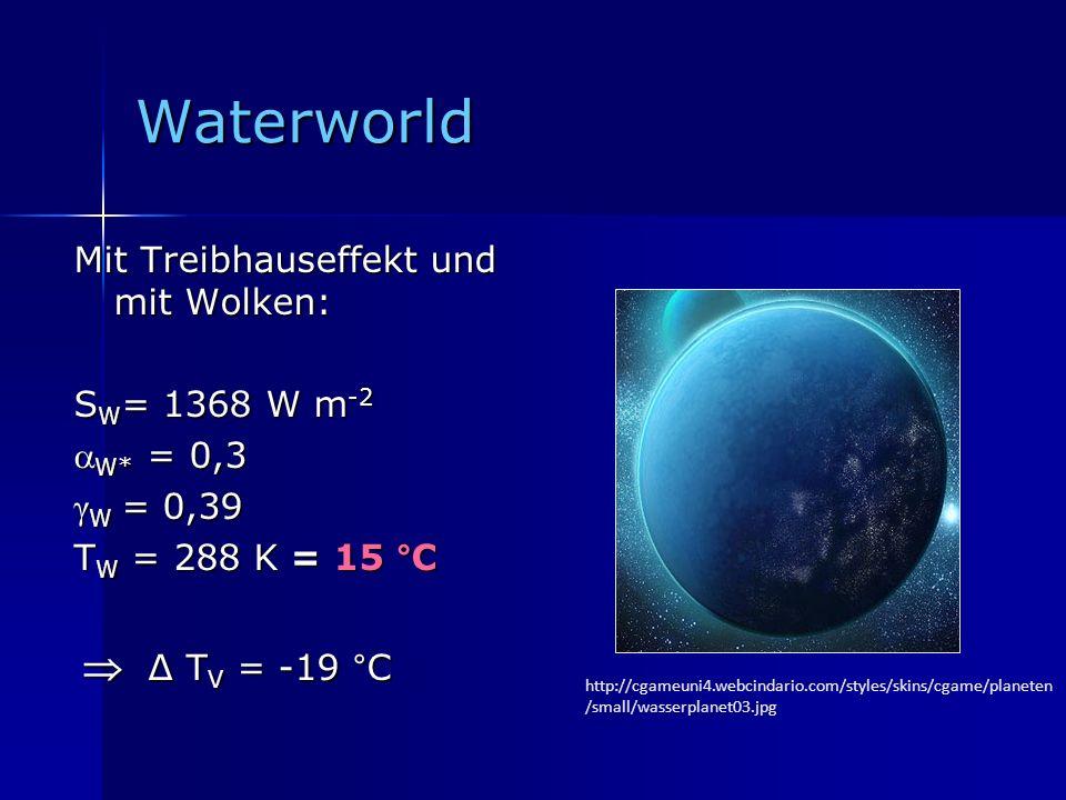 Waterworld Mit Treibhauseffekt und mit Wolken: S W = 1368 W m -2 W* = 0,3 W* = 0,3 γ W = 0,39 T W = 288 K = 15 °C Δ T V = -19 °C Δ T V = -19 °C http:/