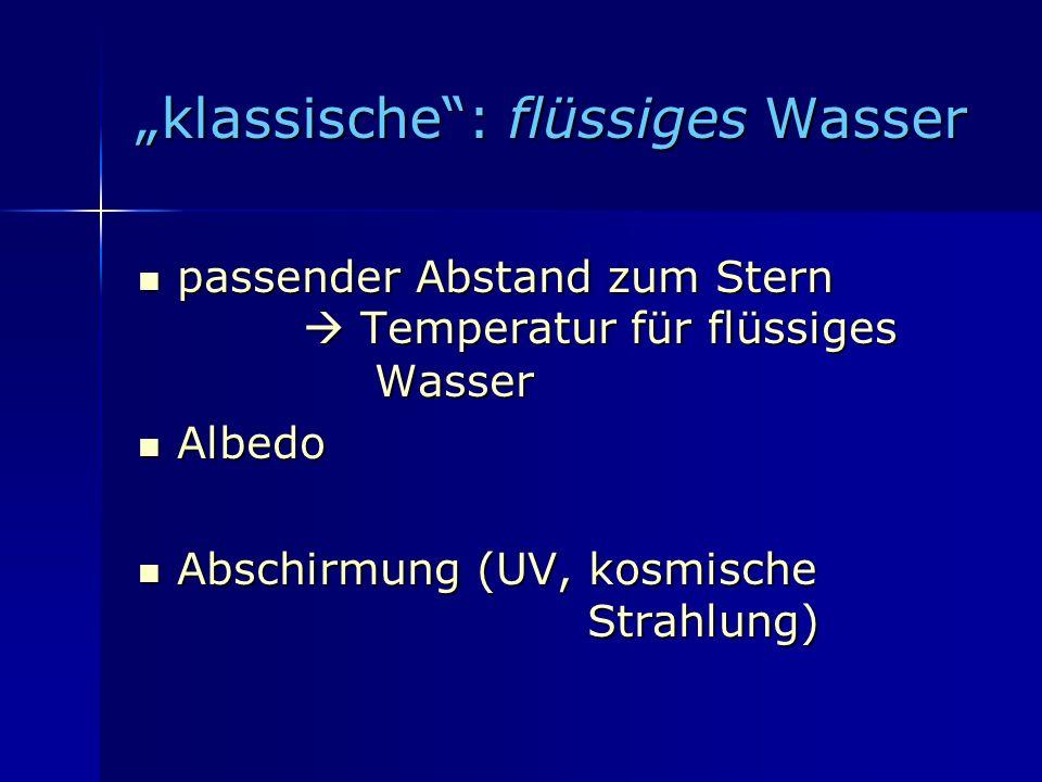 klassische: flüssiges Wasser klassische: flüssiges Wasser passender Abstand zum Stern Temperatur für flüssiges Wasser passender Abstand zum Stern Temp