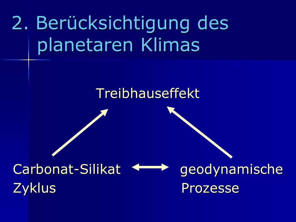 2. Berücksichtigung des planetaren Klimas Treibhauseffekt Carbonat-Silikat geodynamische Zyklus Prozesse