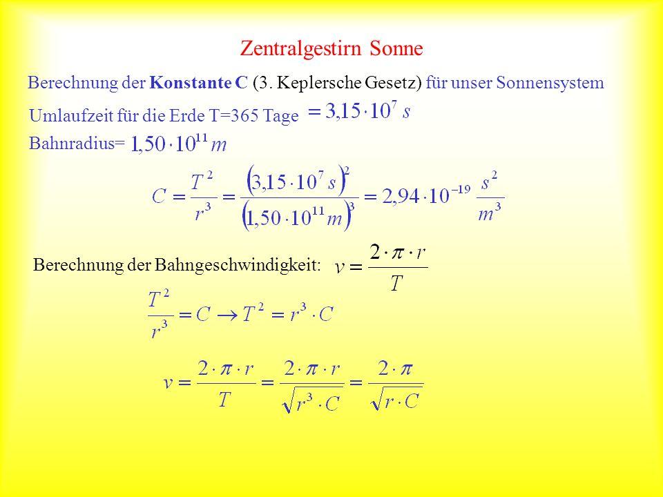 Zentralgestirn Sonne Berechnung der Konstante C (3. Keplersche Gesetz) für unser Sonnensystem Umlaufzeit für die Erde T=365 Tage Bahnradius= Berechnun