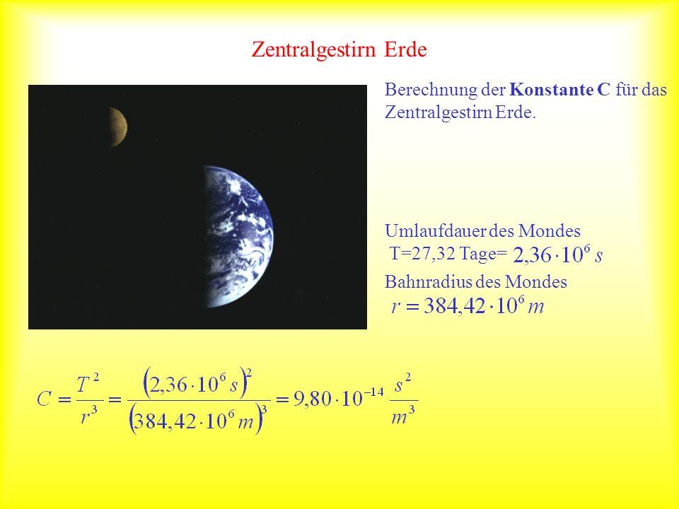 Zentralgestirn Erde Berechnung der Konstante C für das Zentralgestirn Erde. Umlaufdauer des Mondes T=27,32 Tage= Bahnradius des Mondes