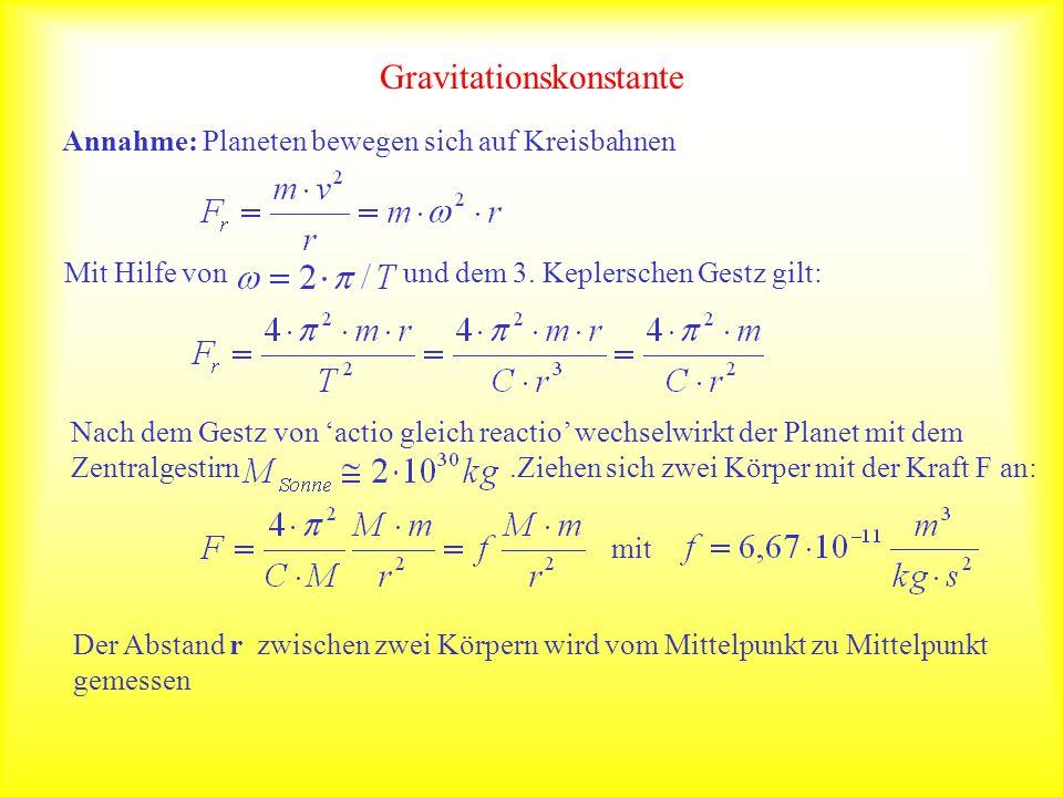 Gravitationskonstante Annahme: Planeten bewegen sich auf Kreisbahnen Mit Hilfe von und dem 3. Keplerschen Gestz gilt: Nach dem Gestz von actio gleich