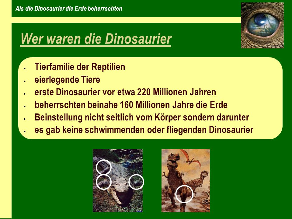 Als die Dinosaurier die Erde beherrschten Das Aussterben der Dinosaurier Vor etwa 65 Millionen Jahren ereignete sich auf der Erde ein Massenaussterben, die Dinosaurier starben gänzlich aus.