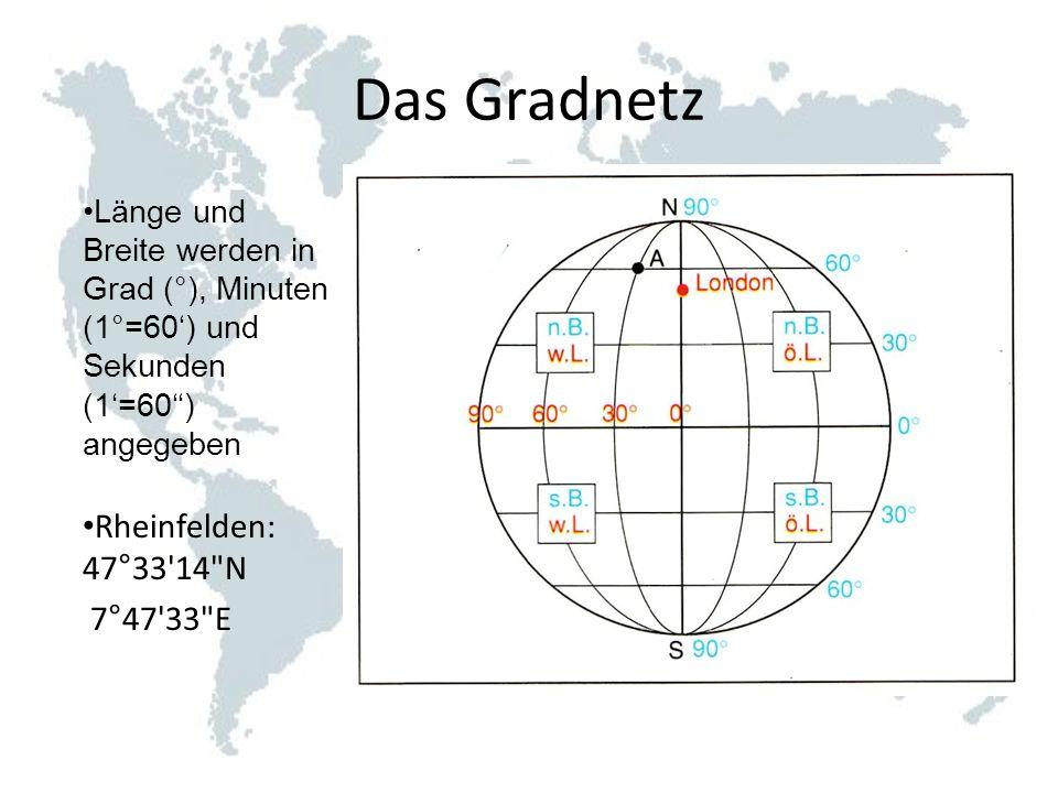 Das Gradnetz Länge und Breite werden in Grad (°), Minuten (1°=60) und Sekunden (1=60) angegeben Rheinfelden: 47°33'14
