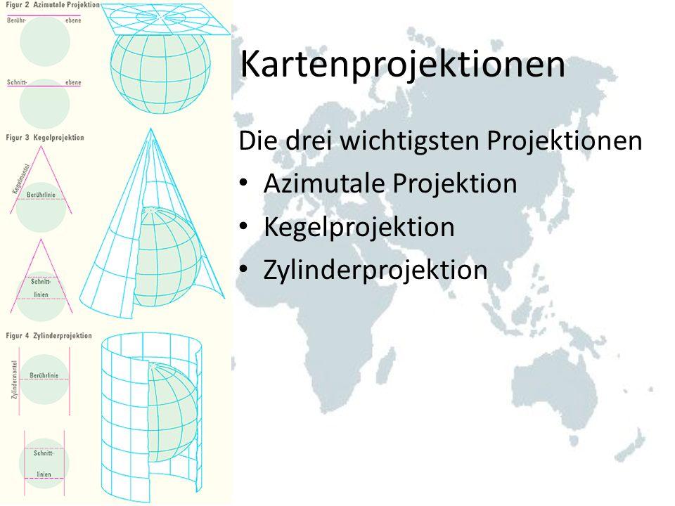 Kartenprojektionen Die drei wichtigsten Projektionen Azimutale Projektion Kegelprojektion Zylinderprojektion