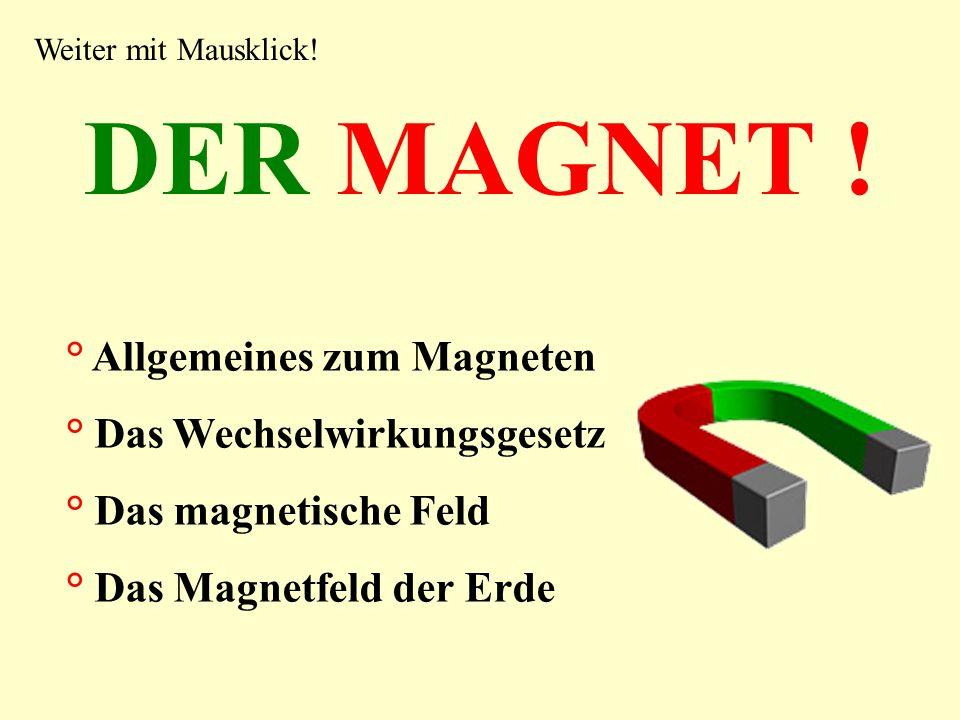 DER MAGNET ! ° Allgemeines zum Magneten ° Das Wechselwirkungsgesetz ° Das magnetische Feld ° Das Magnetfeld der Erde Weiter mit Mausklick!