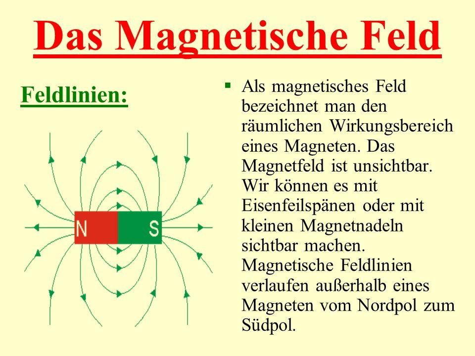 Das Magnetische Feld Als magnetisches Feld bezeichnet man den räumlichen Wirkungsbereich eines Magneten. Das Magnetfeld ist unsichtbar. Wir können es