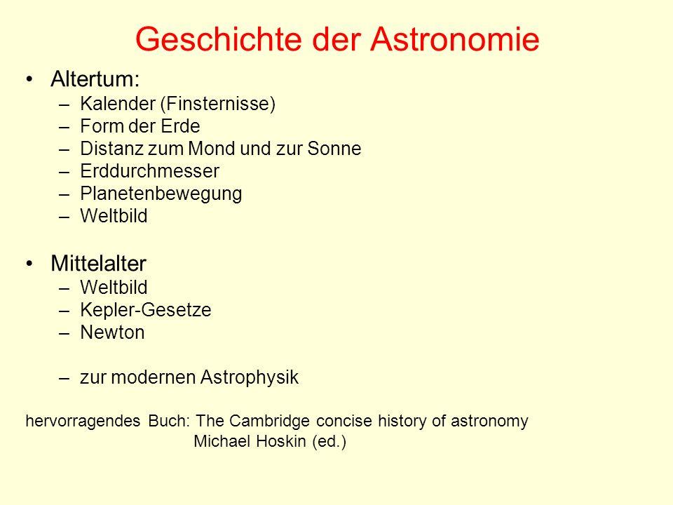 Geschichte der Astronomie Altertum: –Kalender (Finsternisse) –Form der Erde –Distanz zum Mond und zur Sonne –Erddurchmesser –Planetenbewegung –Weltbil