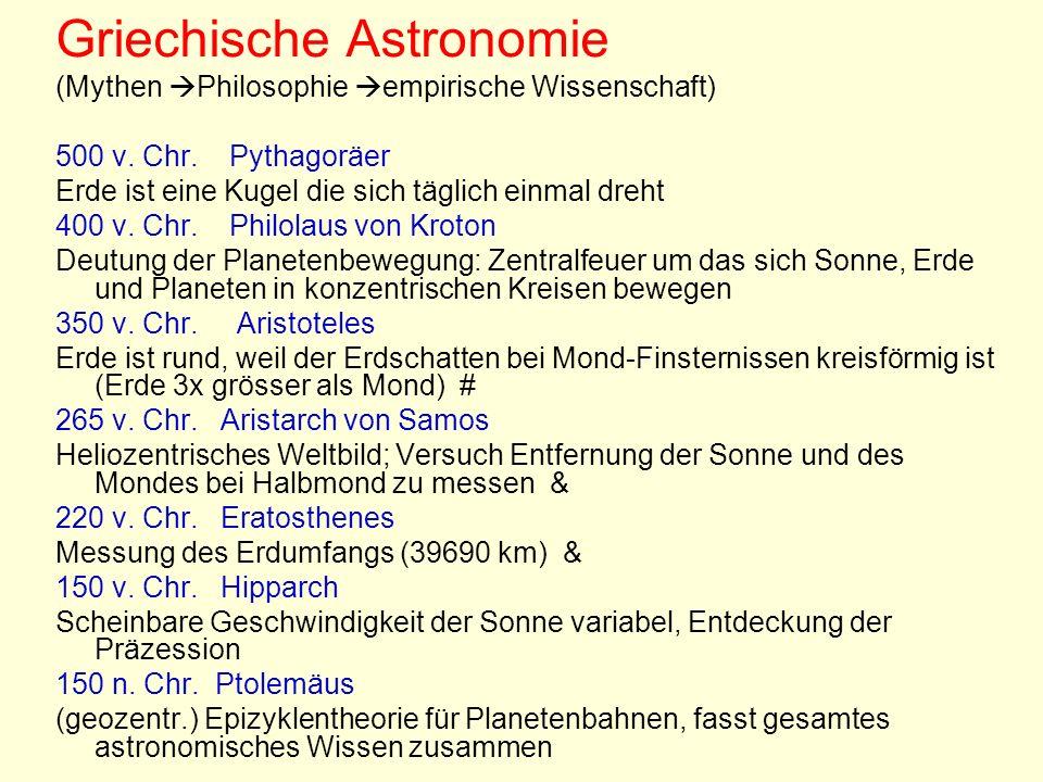 Griechische Astronomie (Mythen Philosophie empirische Wissenschaft) 500 v. Chr. Pythagoräer Erde ist eine Kugel die sich täglich einmal dreht 400 v. C