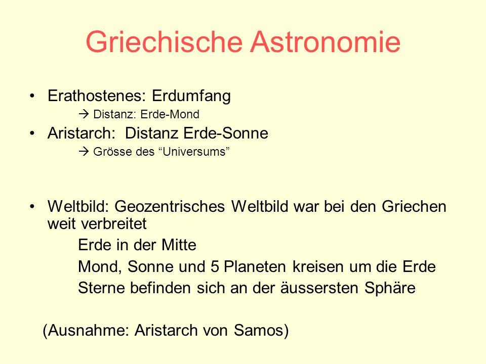 Griechische Astronomie Erathostenes: Erdumfang Distanz: Erde-Mond Aristarch: Distanz Erde-Sonne Grösse des Universums Weltbild: Geozentrisches Weltbil