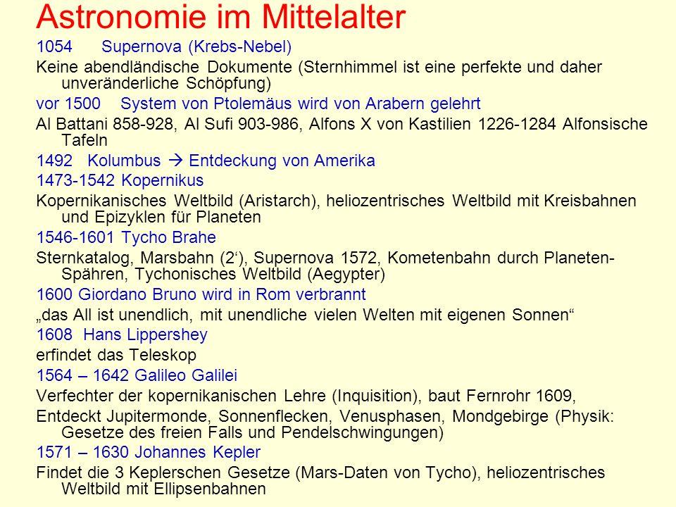 Astronomie im Mittelalter 1054 Supernova (Krebs-Nebel) Keine abendländische Dokumente (Sternhimmel ist eine perfekte und daher unveränderliche Schöpfu