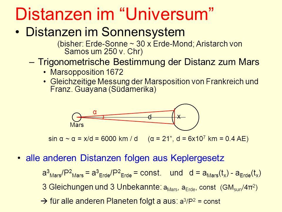 Distanzen im Universum Distanzen im Sonnensystem (bisher: Erde-Sonne ~ 30 x Erde-Mond; Aristarch von Samos um 250 v. Chr) –Trigonometrische Bestimmung