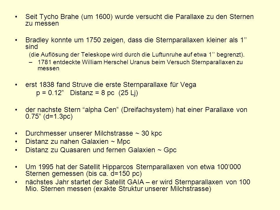 Seit Tycho Brahe (um 1600) wurde versucht die Parallaxe zu den Sternen zu messen Bradley konnte um 1750 zeigen, dass die Sternparallaxen kleiner als 1