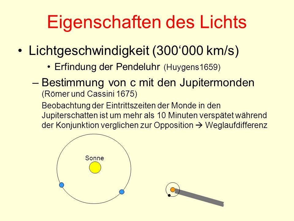 Eigenschaften des Lichts Lichtgeschwindigkeit (300000 km/s) Erfindung der Pendeluhr (Huygens1659) –Bestimmung von c mit den Jupitermonden (Römer und C
