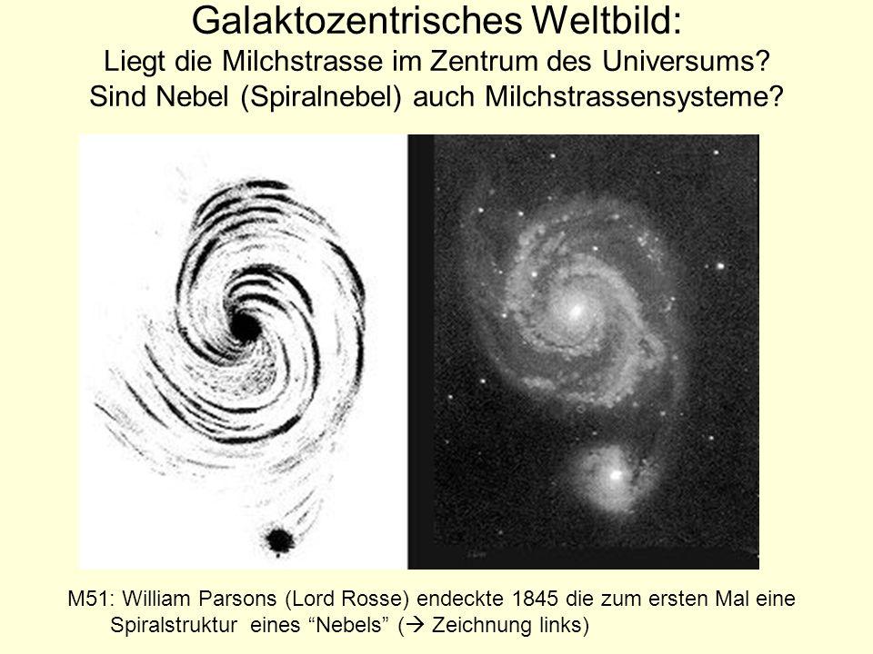 Galaktozentrisches Weltbild: Liegt die Milchstrasse im Zentrum des Universums? Sind Nebel (Spiralnebel) auch Milchstrassensysteme? M51: William Parson