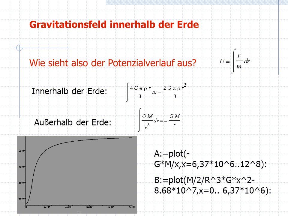 Wie sieht also der Potenzialverlauf aus? Innerhalb der Erde: Außerhalb der Erde: A:=plot(- G*M/x,x=6,37*10^6..12^8): B:=plot(M/2/R^3*G*x^2- 8.68*10^7,