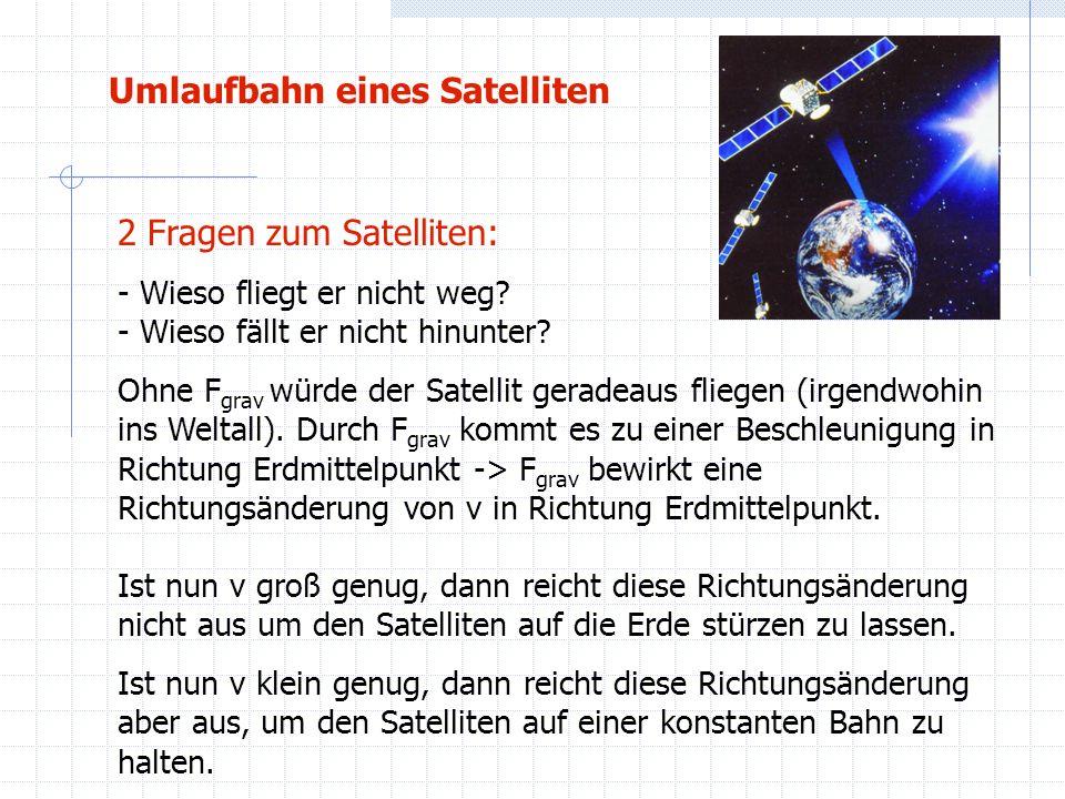 Umlaufbahn eines Satelliten 2 Fragen zum Satelliten: - Wieso fliegt er nicht weg? - Wieso fällt er nicht hinunter? Ohne F grav würde der Satellit gera