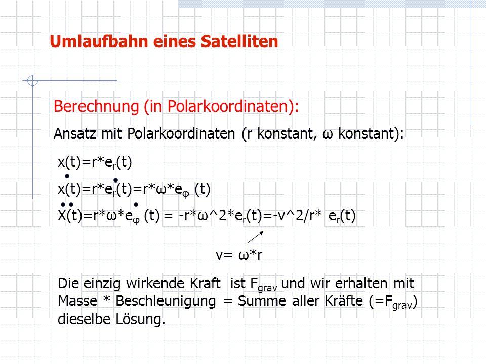 Umlaufbahn eines Satelliten Berechnung (in Polarkoordinaten): Ansatz mit Polarkoordinaten (r konstant, ω konstant): x(t)=r*e r (t) x(t)=r*e r (t)=r*ω*