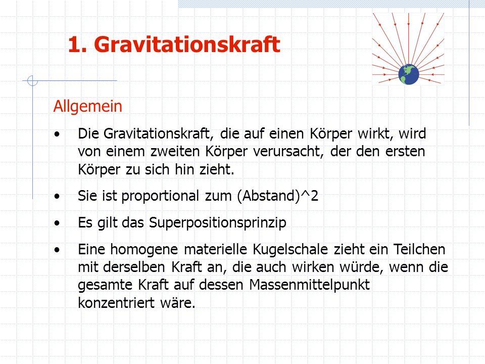 1. Gravitationskraft Allgemein Die Gravitationskraft, die auf einen Körper wirkt, wird von einem zweiten Körper verursacht, der den ersten Körper zu s