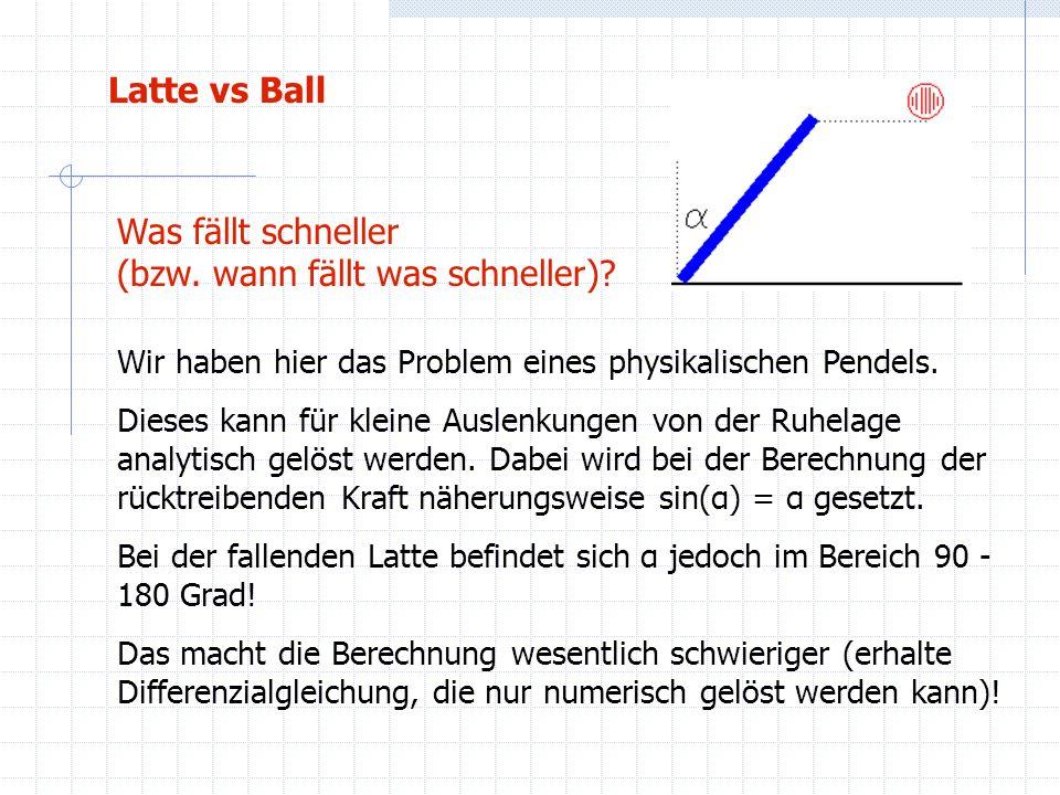 Latte vs Ball Was fällt schneller (bzw. wann fällt was schneller)? Wir haben hier das Problem eines physikalischen Pendels. Dieses kann für kleine Aus
