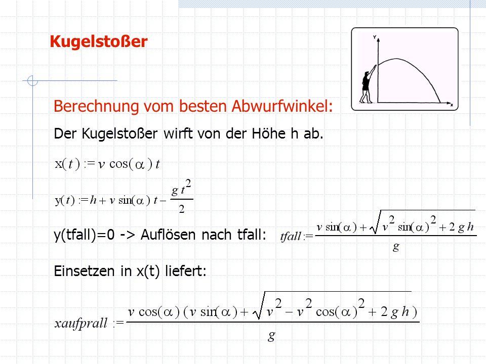 Kugelstoßer Berechnung vom besten Abwurfwinkel: Der Kugelstoßer wirft von der Höhe h ab. y(tfall)=0 -> Auflösen nach tfall: Einsetzen in x(t) liefert: